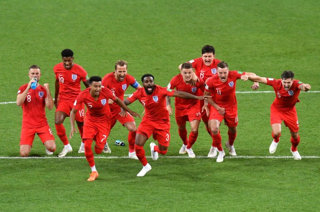 England celebrate Colombia win