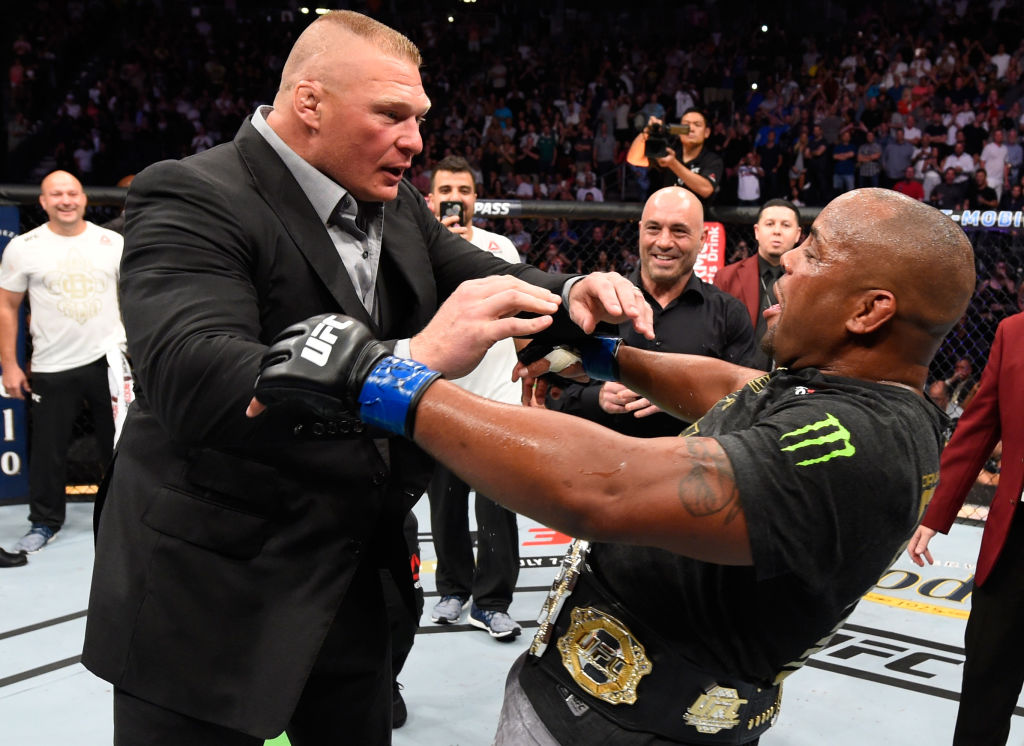 Brock Lesnar shoves Daniel Cormier in octagon melee after historic UFC 226 win