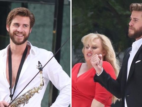 Liam Hemsworth andRebel Wilson get their jive on while filming Isn't It Romantic