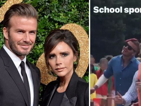 David Beckham is just another embarrassing dad as he attempts to win a traditional British sports day