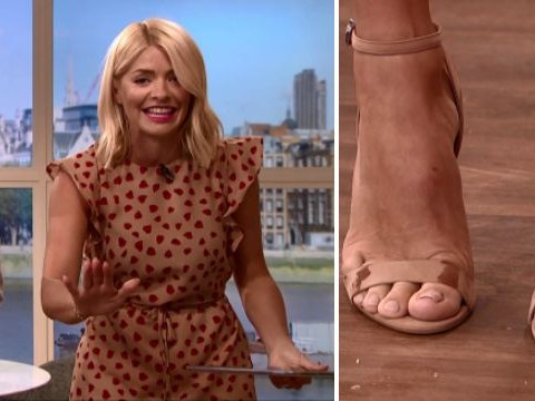 Holly Willoughby collapses in a fit of giggles as dog ruins her shoes live on This Morning
