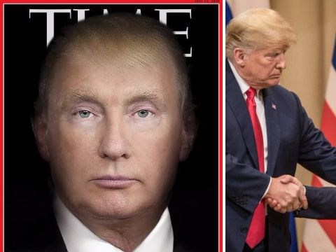 Time magazine blends Donald Trump and Vladimir Putin's faces in creepy new cover