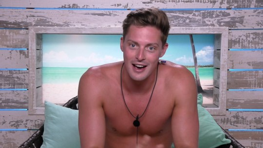 Alex George in Love Island beach hut