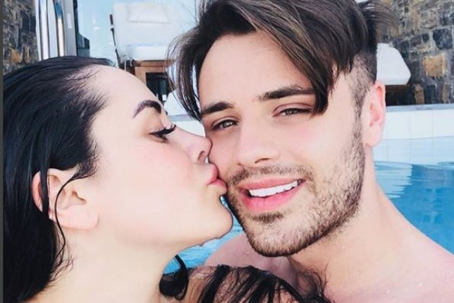 Marnie Simpson kisses Casey Johnson in swimming pool