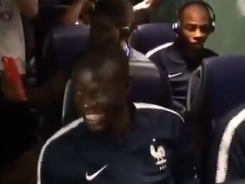 N'Golo Kante's reaction is superb as France players sing his name after World Cup win