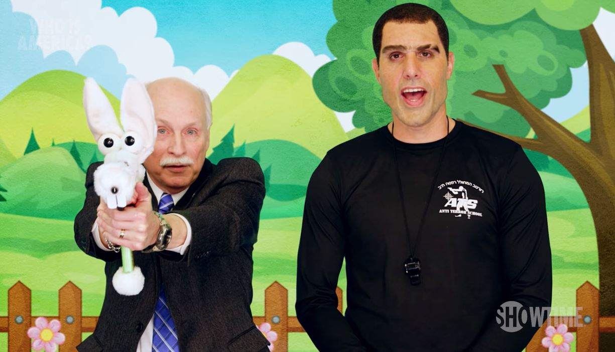 Sacha Baron Cohen tricks government officials into gun-training video aimed at three-year-olds in Who Is America?