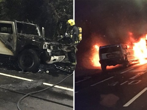 Luxury limousine burst into flames on London road
