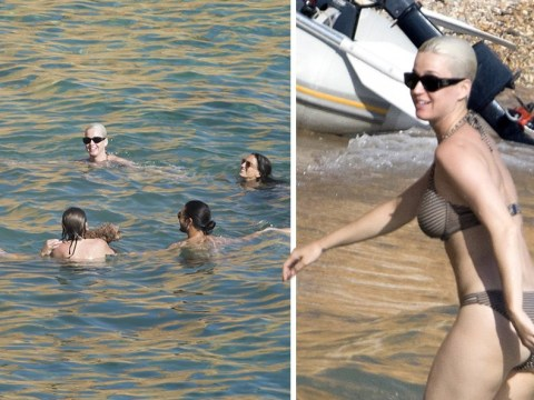 Katy Perry worships her dog in odd ocean circle as she enjoys downtime in Ibiza