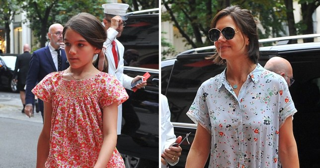Katie Holmes and her daughter Suri Cruise leave the Louvre and go back to their hotel in Paris