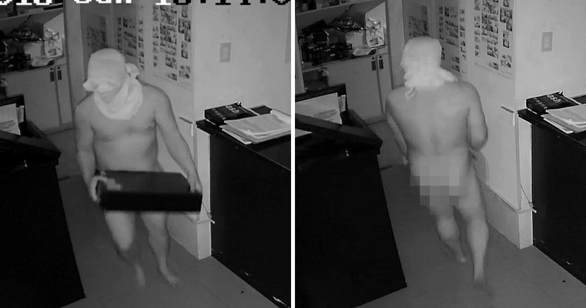 Burglars filmed looting diving shop while naked 'so they don't get recognised'