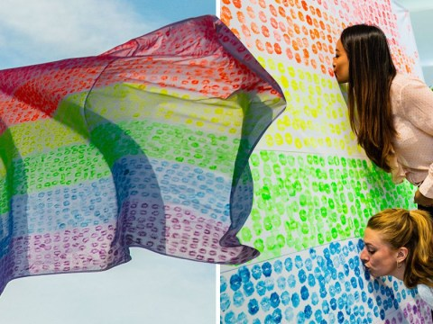 Kisses from 6,000 people create massive Pride flag at Heathrow Airport