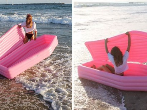 This inflatable pink coffin is a big summer mood