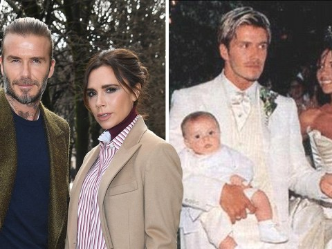 When was David and Victoria Beckham's wedding and what did they wear?
