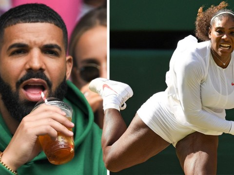 Drake sips on Pimms in a hoodie as he cheers on ex-girlfriend Serena Williams at Wimbledon