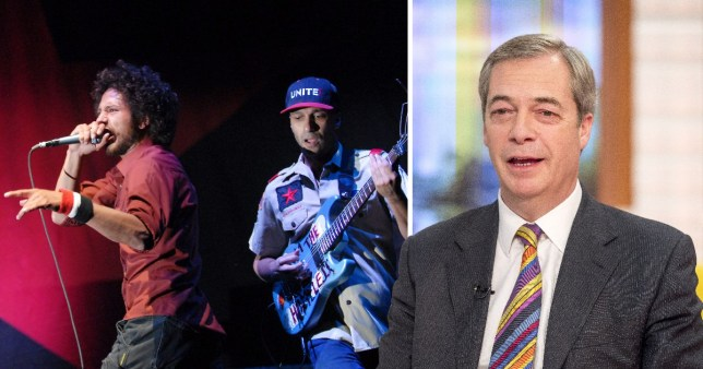 Rage Against The Machine have demanded Nigel Farage stop using their name (Picture: Rex)