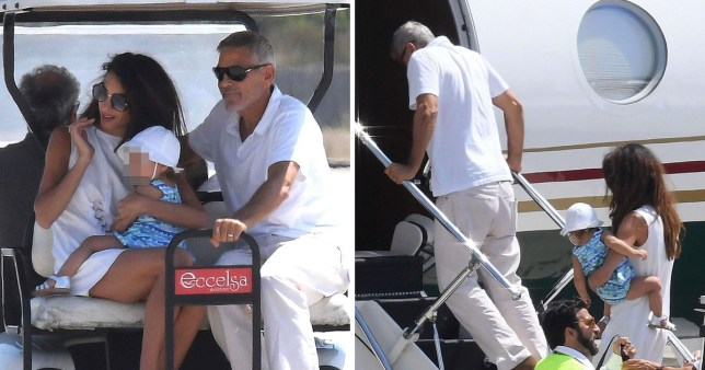 George Clooney leaving Sardinia with his wife and daughter Ella