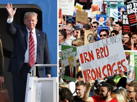 Donald Trump met by thousands of protestors after arriving in Scotland