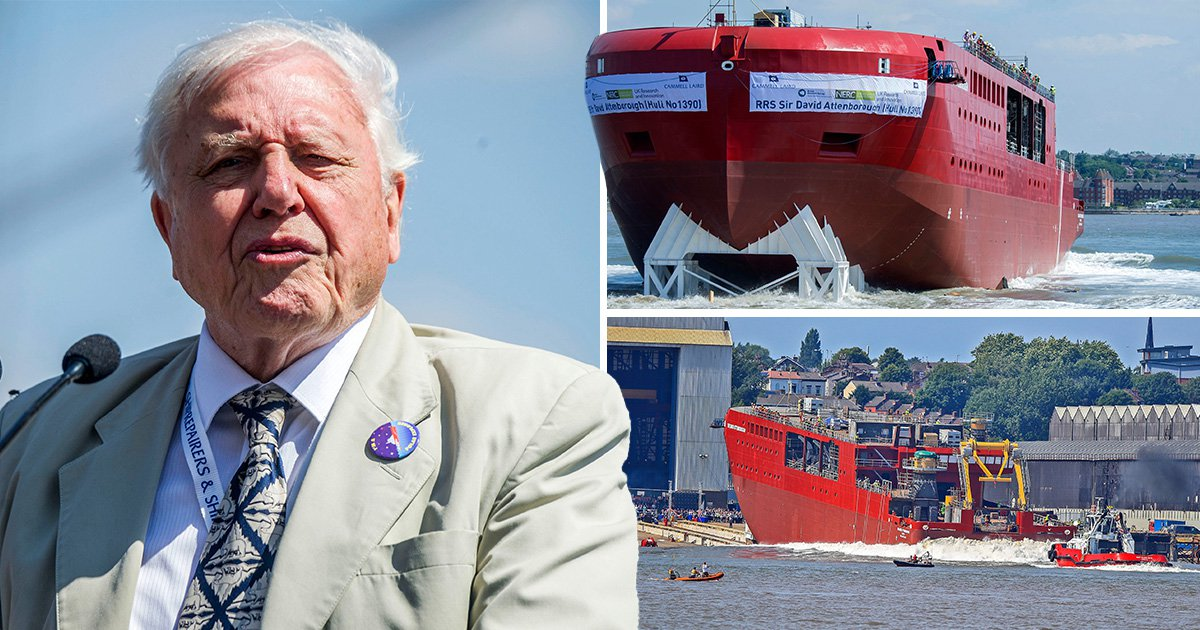David Attenborough launches Boaty McBoatface into the Mersey