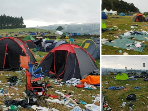Huge sea of waste left behind at music festival after everybody leaves