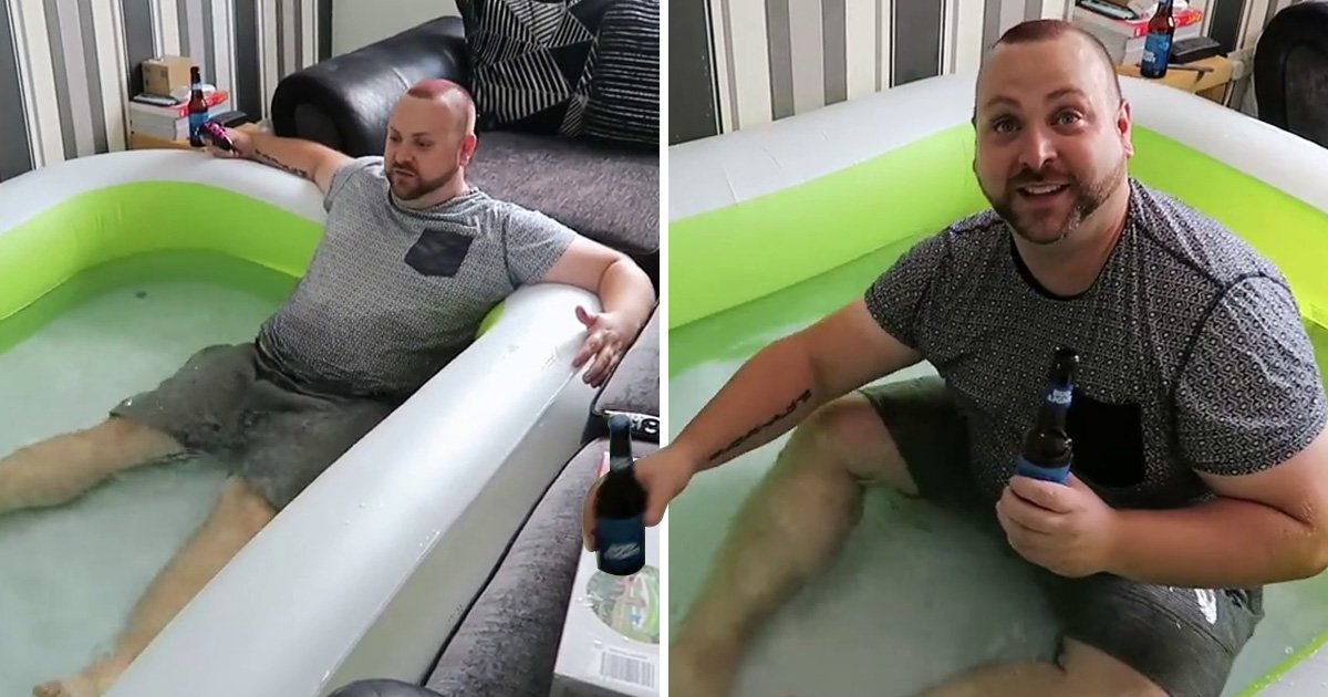 Hero cools off from heatwave in indoor paddling pool, but his girlfriend's not happy