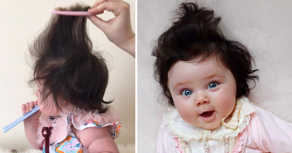 8-month-old baby with super thick hair has become a tiny celebrity