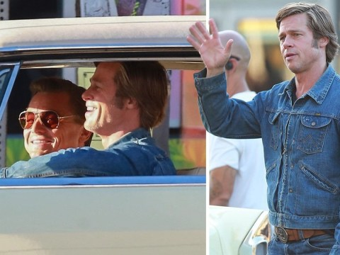Brad Pitt rocks double denim as he films Once Upon A Time In Hollywood with Leonardo DiCaprio