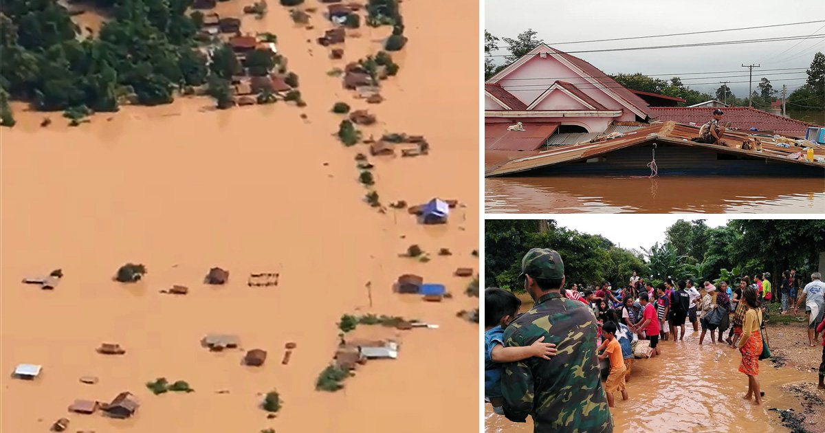 Hundreds missing after dam collapses releasing 5,000,000,000 litres of water