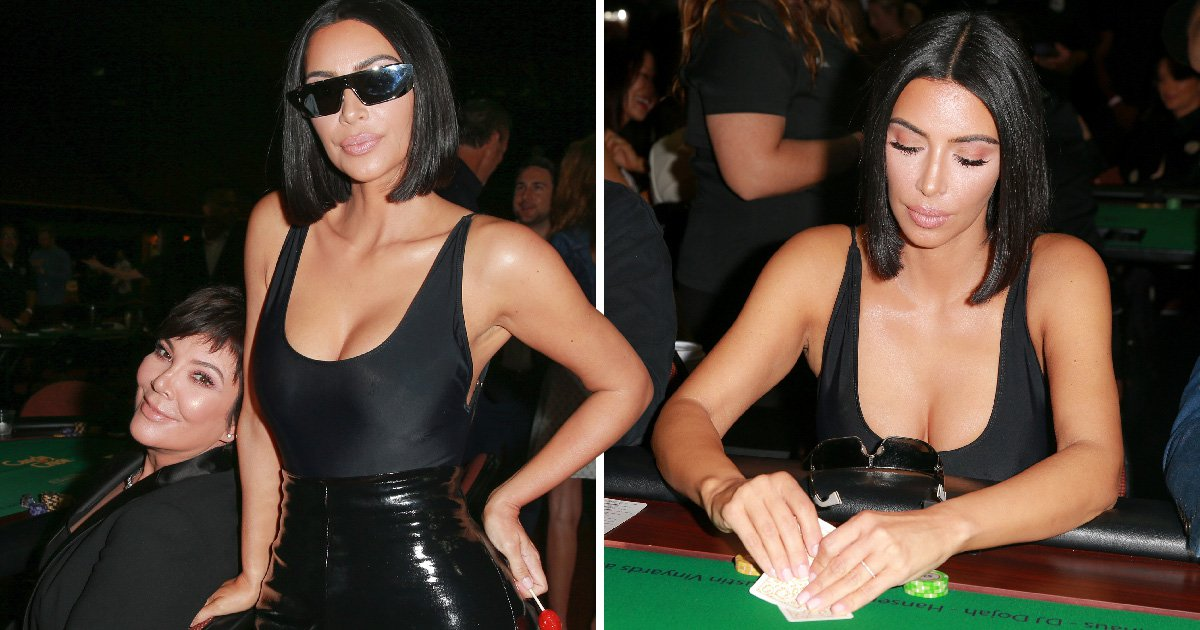 Kim Kardashian teams poker face with poker straight hair at charity tournament after sisters praise 'skinny' frame