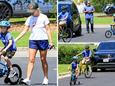 Reese Witherspoon is parent goals as she teaches son how to ride a bike