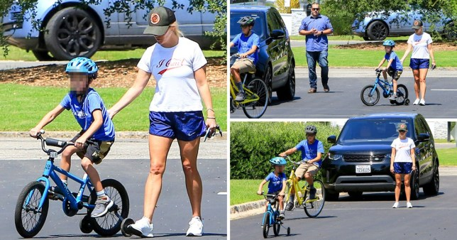 Reese Witherspoon wears her thoughts on her sleeve with 'I Can't' tee while teaching son Tennessee to ride a bike