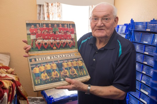 Ken Bridgeman, 81, has been collecting football programmes from the matches of his local team Swindon since the 1950s. See SWNS copy SWFOOTY: A football fan who has collected every Swindon Town programme since 1947 has made a desperate appeal to find the ONE missing magazine to complete his collection. Ken Bridgeman, 81, began hoarding the matchday journals shortly after attending his first game at the age of 10 in April 1947. He now has more than 3,000 worth over ??20,000 and has them all carefully recorded in a handwritten logbook.