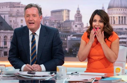 EDITORIAL USE ONLY. NO MERCHANDISING Mandatory Credit: Photo by Ken McKay/ITV/REX/Shutterstock (9733270r) Piers Morgan and Susanna Reid 'Good Morning Britain' TV show, London, UK - 03 Jul 2018