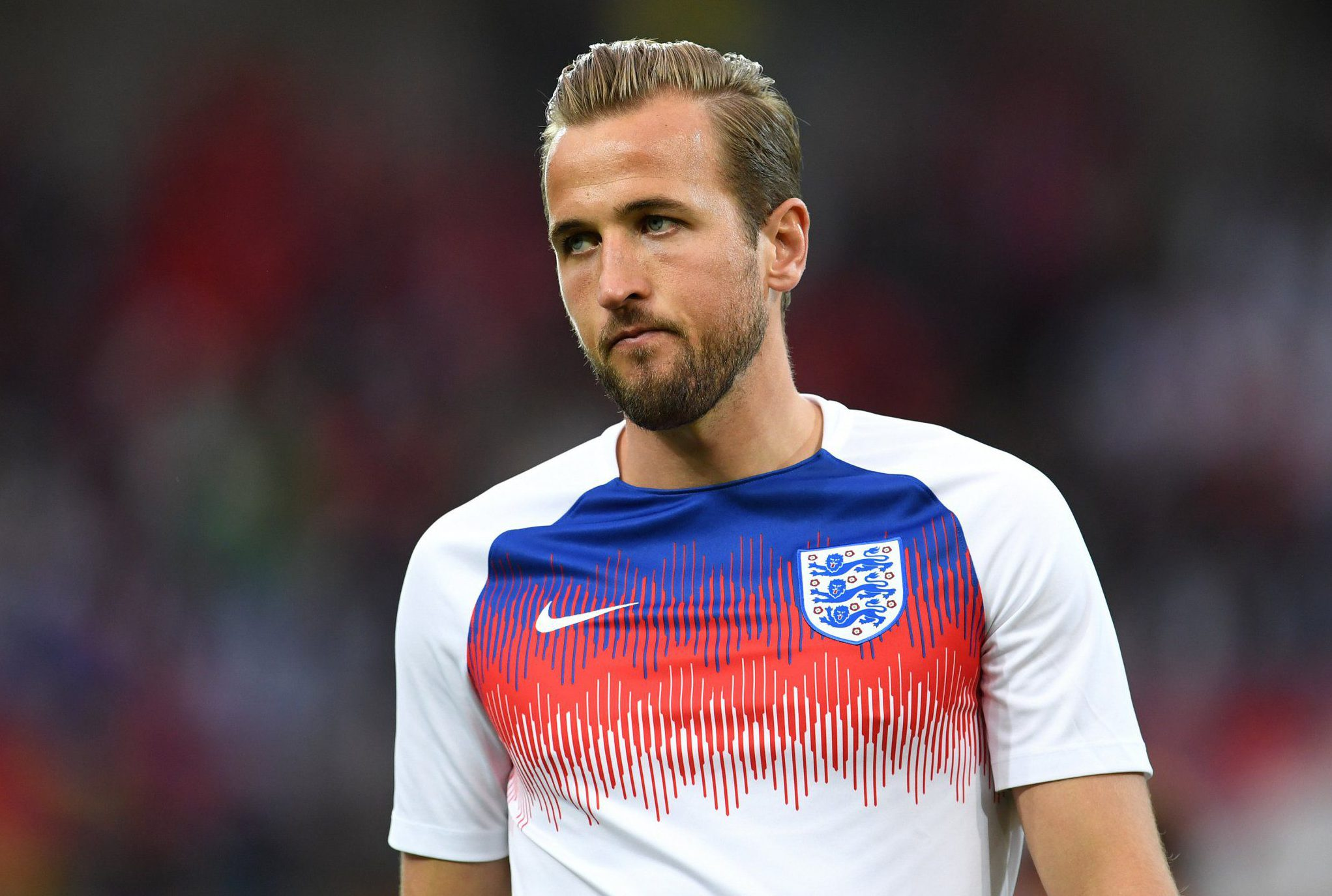 MOSCOW, RUSSIA - JULY 03: Harry Kane of England looks on during warm up prior to the 2018 FIFA World Cup Russia Round of 16 match between Colombia and England at Spartak Stadium on July 3, 2018 in Moscow, Russia. (Photo by David Ramos - FIFA/FIFA via Getty Images)