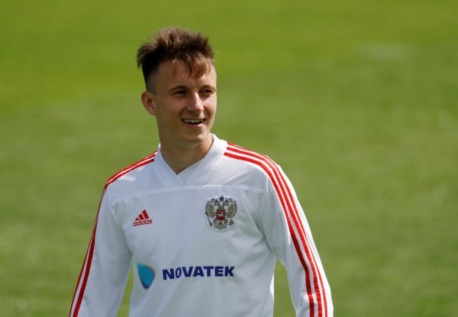Soccer Football - World Cup - Russia Training - Russia Training Camp, Moscow, Russia - July 4, 2018 Russia's Aleksandr Golovin during training REUTERS/Tatyana Makeyeva