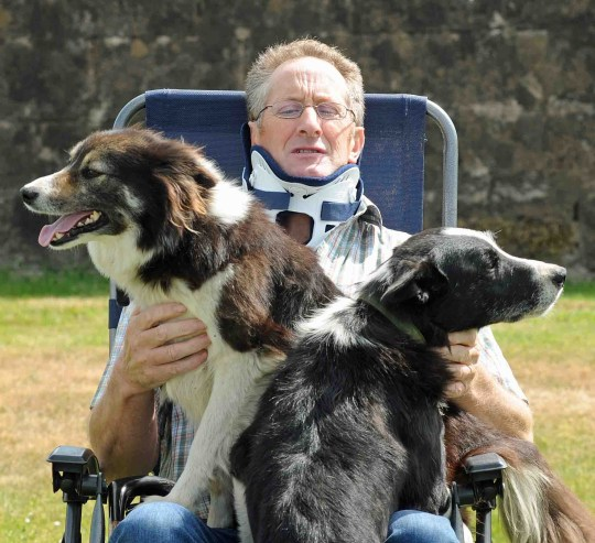 Farmer George Mair told yesterday how his two sheepdogs saved his life after a horror quad bike accident. He broke two bones in his neck and lay unconscious in a remote field for five hours after the crash near Daer Reservoir. One of his collies, Gem, ran for miles to raise the alarm with his youngest son Andrew while the older dog, Roy, lay with George to keep him warm. George, 62, has a collar fitted to his neck and is on painkillers to combat the agony of his injuries but admitted: ?I am lucky to be alive. George Mair recovering at home with his faithful sheepdogs Roy and Gem. Picture by contracted freelance Jim McEwan