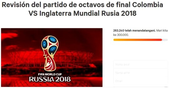 280,000 sore losers sign a petition wanting the Colombia and England game replayed. Picture: CHANGE.ORG ref: http://cdn.klimg.com/bola.net/library/upload/21/2018/07/petisi-inggris-kolom_949becf.jpg
