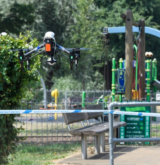 ** CATION CORRECTION Pictures should be dated 06/07/2018** ? Licensed to London News Pictures. 06/07/2018. Salisbury, UK. Police use a drone to scan parts of Queen Elizabeth Gardens in Salisbury, Wiltshire, an area visited by two people who are in critical condition after being exposed to the Novichok nerve agent. Dawn Sturgess, 44, and Charlie Rowley, 45 have been confirmed as having come in to contact with the deadly agent after samples were sent to the MoD's Porton Down laboratory. Former Russian spy Sergei Skripal and his daughter Yulia were poisoned with Novichok nerve agent in nearby Salisbury in March 2018 causing diplomatic tentions between Russia and the UK. Photo credit: Ben Cawthra/LNP