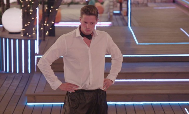 Editorial Use Only. No Merchandising. No Commercial Use. Mandatory Credit: Photo by ITV/REX/Shutterstock (9744000s) Alex George during the dance challenge. 'Love Island' TV Show, Series 4, Episode 33, Majorca, Spain - 06 Jul 2018 Tension Rises in the Villa Following the Dramatic Dumping It's a New Day in the Villa - Will the Drama Continue? The Islanders Clear the Air by Taking Part in a Saucy Dance Off