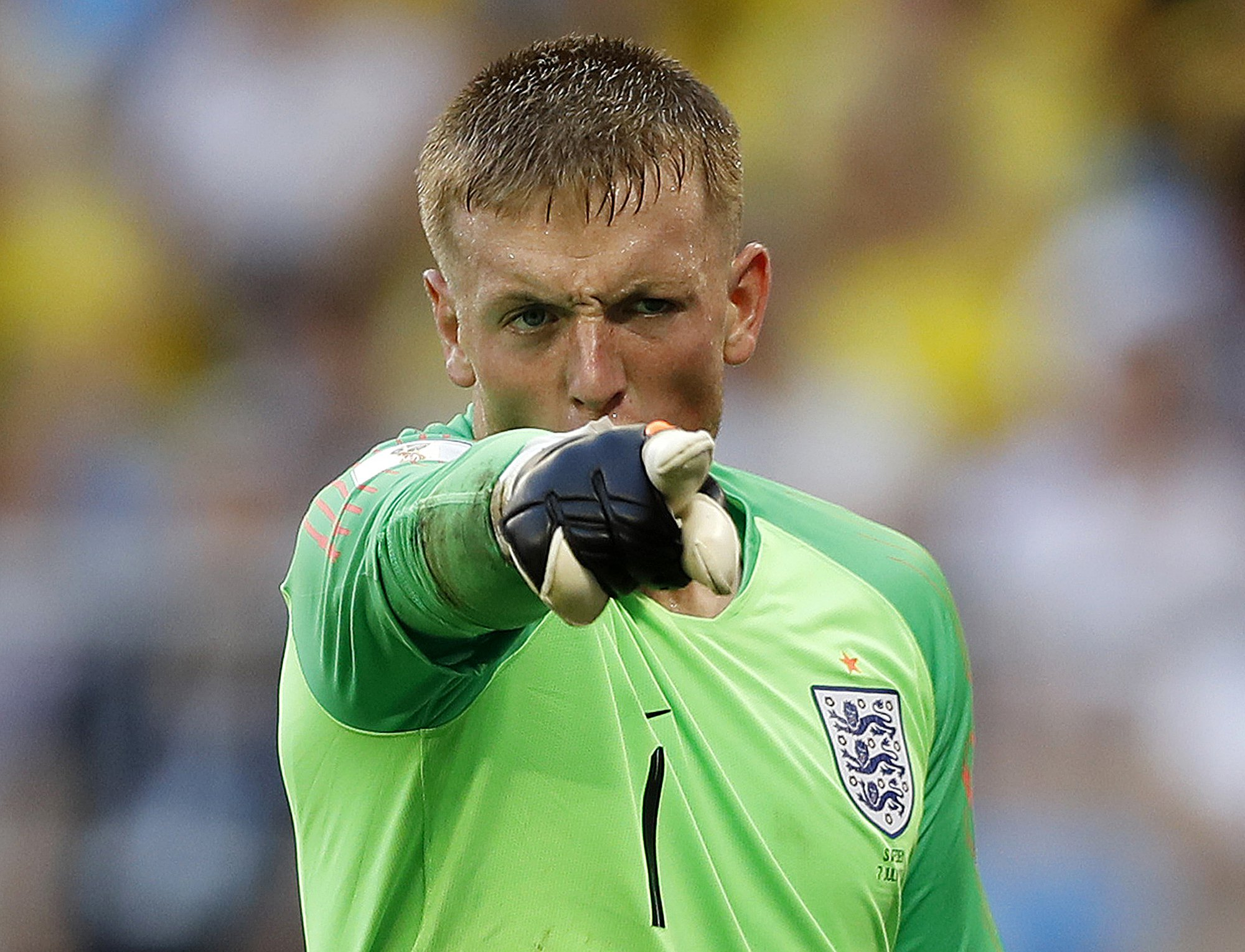 England goalkeeper Jordan Pickford gestures during the quarterfinal match between Sweden and England at the 2018 soccer World Cup in the Samara Arena, in Samara, Russia, Saturday, July 7, 2018. (AP Photo/Francisco Seco)