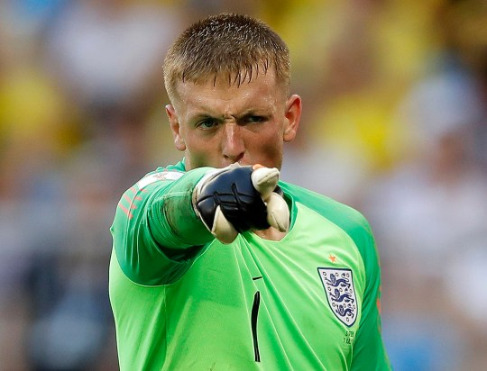 df1b8c86b England goalkeeper Jordan Pickford gestures during the quarterfinal match  between Sweden and England at the 2018