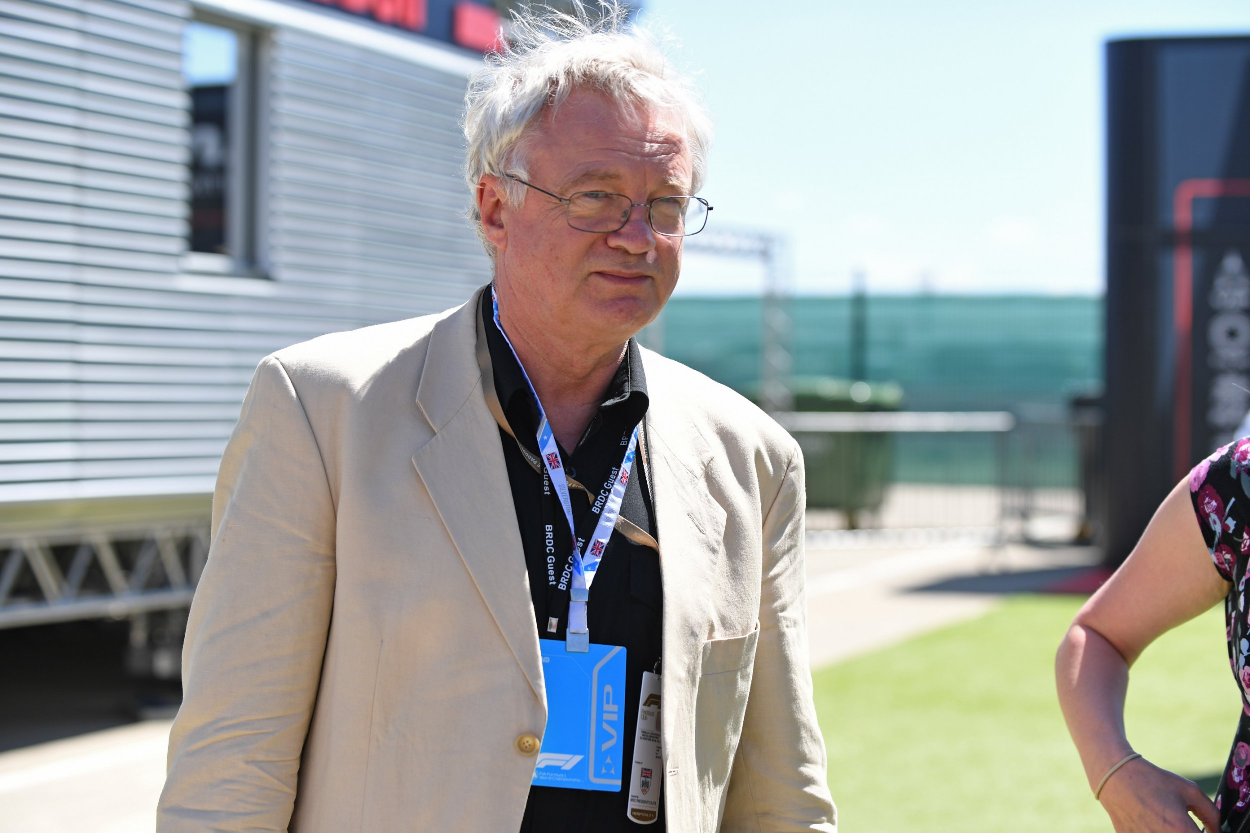 Mandatory Credit: Photo by Simon Galloway/Sutton Images/REX/Shutterstock (9745130c) David Davis MP (GBR) during the British GP at Silverstone on July 08, 2018 in Silverstone, United Kingdom. 2018 British GP - 08 Jul 2018
