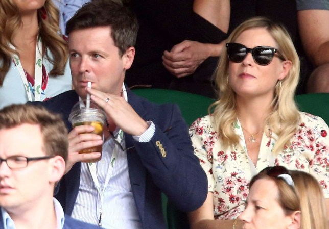 Mandatory Credit: Photo by James Marsh/BPI/REX/Shutterstock (9745538br) Declan Donnelly and Ali Astall on Centre Court Wimbledon Tennis Championships, Day 7, The All England Lawn Tennis and Croquet Club, London, UK - 09 Jul 2018