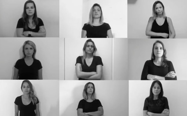 In this July 9, 2018 video frame, BrazilIan sports journalists are seen during a video against the sexism and harassment they face while doing their jobs, in Rio de Janeiro, Brazil. They have launched a campaign to draw attention to and create pressure to end the sexism and harassment they face while doing their jobs, often from fans while they are on the air. (AP Photo)