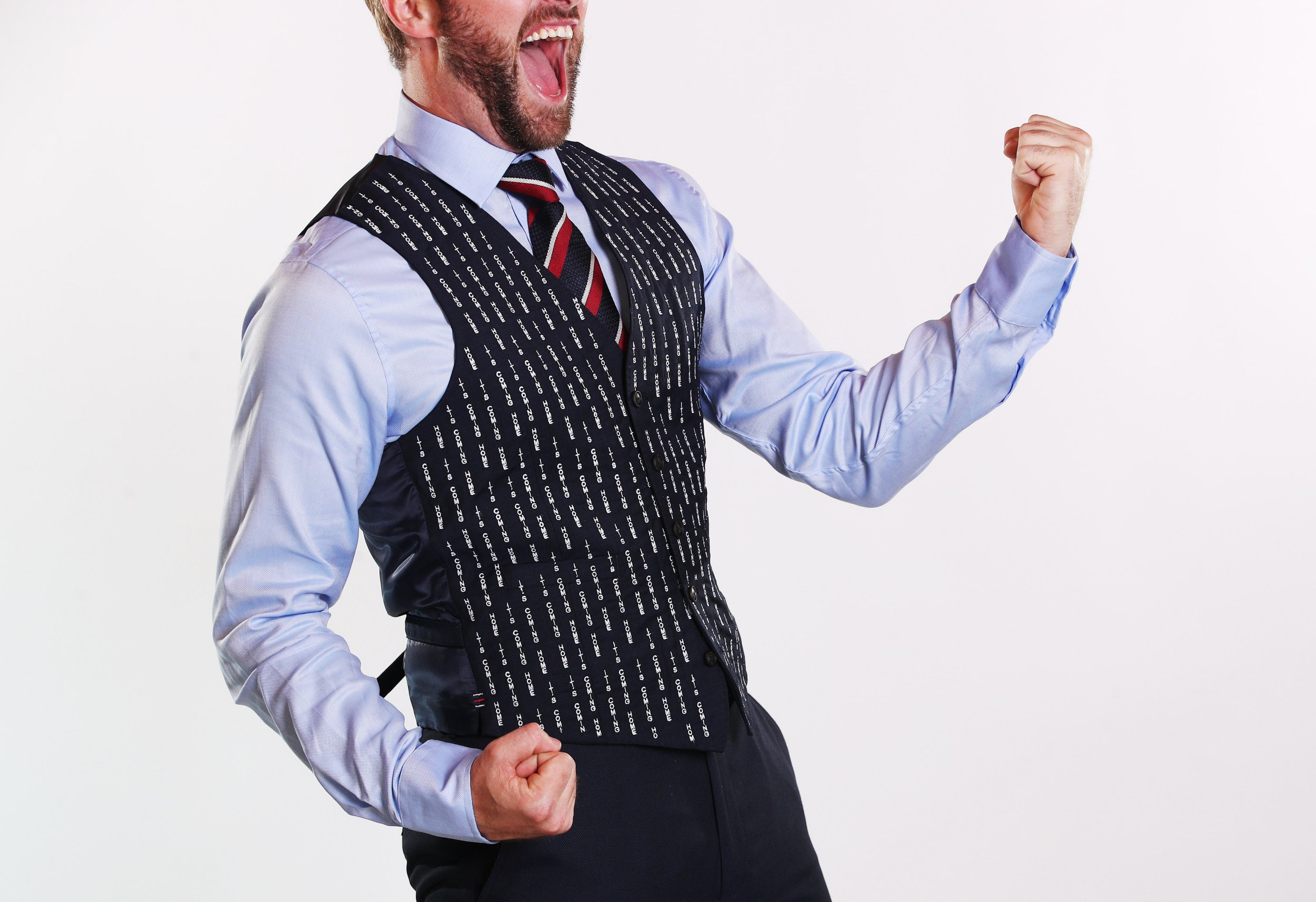 A waistcoat with ???It???s Coming Home??? embroidered in has been made a reality by mobile phone brand Huawei following their photoshopped version released last week to promote the 5x zoom feature on their latest device, the P20 Pro. It was embroidered over the weekend in response to huge public demand and is available for one England fan to win today on their Twitter channel (@HuaweiMobileUK). A second waistcoat was also created and may be on its way to Russia marked FAO Gareth Southgate . . . Where: United Kingdom When: 09 Jul 2018 Credit: Joe Pepler/PinPep/WENN.com