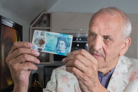 Graham Short who has etched a portrait of Harry Kane on to a number of ??5 notes. See NTI story NTIKANE. Football fans could net themselves ??50,000 if they spot a tiny engraving of England hero Harry Kane drawn on a special batch of ??5 notes. Micro-engraver Graham Short, 72, has spent hundreds of hours etching the 5mm portrait on 11 fivers he plans to put into circulation if England reach the World Cup Final. Graham, of Bournville, Birmingham, said: ???I have watched all of England???s games during the World Cup and wanted to show my support in the only way I can. ???I don???t know of a better way to celebrate than getting the notes out into circulation for lucky shoppers to find. If England beat Croatia I???ll be zig-zagging across the country, starting in Plymouth and maybe going through Oxford, the Midlands and Norwich so people should check what fivers they???ve got.???