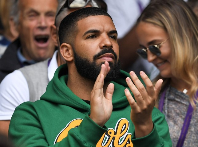 Mandatory Credit: Photo by James Gourley/BPI/REX/Shutterstock (9748019dj) Drake on Centre Court Wimbledon Tennis Championships, Day 8, The All England Lawn Tennis and Croquet Club, London, UK - 10 Jul 2018