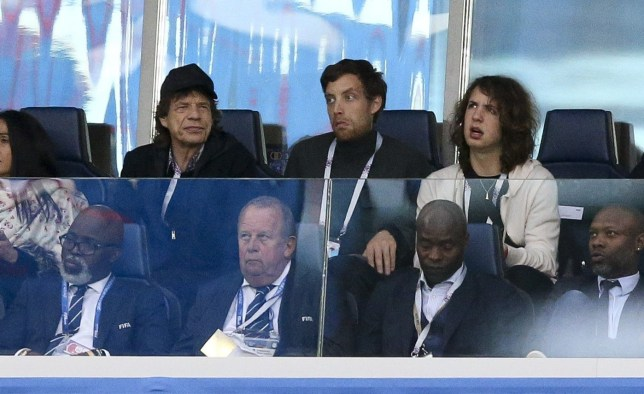 SAINT PETERSBURG, RUSSIA - JULYL 10: Mick Jagger and his son Lucas Jagger (second to his left) attend the 2018 FIFA World Cup Russia Semi Final match between France and Belgium at Saint Petersburg Stadium on July 10, 2018 in Saint Petersburg, Russia. (Photo by Jean Catuffe/Getty Images)