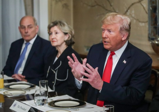 epa06879662 US President Donald J. Trump (R) attends a meeting with NATO Secretary General Jens Stoltenberg (unseen) ahead of a NATO Summit, at the US Embassy in Brussels, Belgium, 11 July 2018. NATO member countries' heads of states and governments gather in Brussels on 11 and 12 July 2018 for a two days meeting. EPA/STEPHANIE LECOCQ