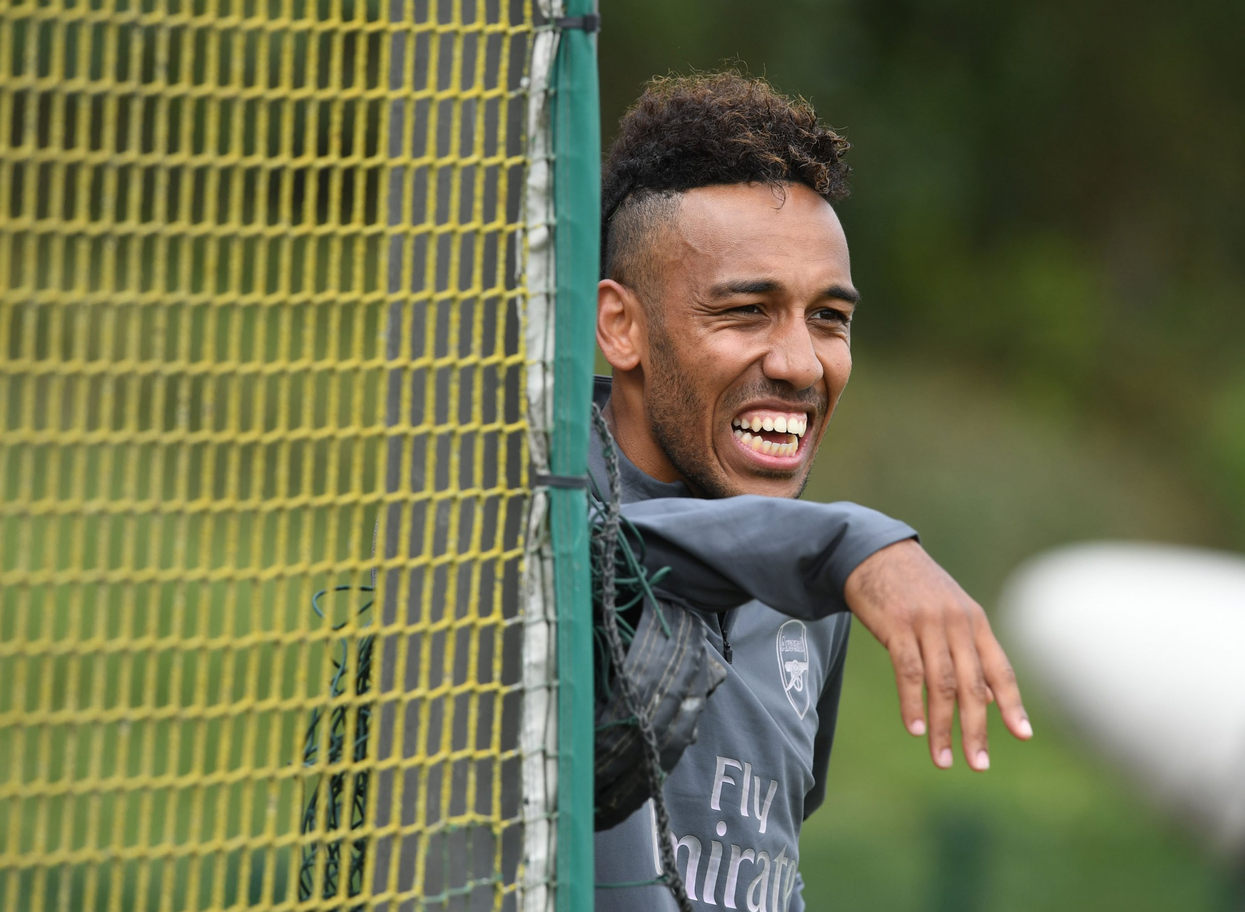 ST ALBANS, ENGLAND - JULY 11: Pierre-Emerick Aubameyang of Arsenal during a training session at London Colney on July 11, 2018 in St Albans, England. (Photo by Stuart MacFarlane/Arsenal FC via Getty Images)