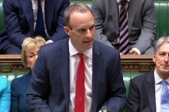 A video grab from footage broadcast by the UK Parliament's Parliamentary Recording Unit (PRU) shows Britain's Secretary of State for Exiting the European Union (Brexit Minister) Dominic Raab speaking in the House of Commons in London on July 12, 2018. British Prime Minister Theresa May has published details today of her long-awaited Brexit blueprint to restart talks with the EU, after facing down a revolt by eurosceptic ministers that could still unseat her. / AFP PHOTO / PRU AND AFP PHOTO / HOHO/AFP/Getty Images